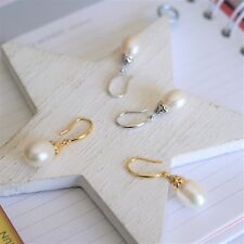 Gold Plated 925 Sterling Silver Drop Earrings Freshwater Pearl Dangling Wedding