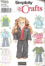 SIMPLICITY 7083 AMERICAN GIRL 18 DOLL CLOTHES SEWING PATTERN JEAN JACKET NEW