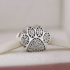 2016 Silver Pave CZ Paw Prints Animal Footprints Charm Beads with AAA Cubic Zirc