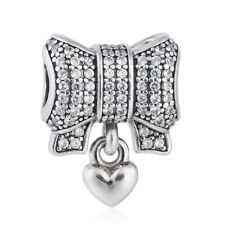 2016 Winter New Shimmering Pave CZ Bow Charms with Heart silver Jewelry Charm