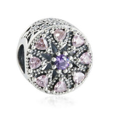 2016 Autumn New Mixed Purple CZ Pink Crystal Stone Silver Medallion Charm Beads