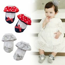 Toddler Newborn Baby Girl lace Bow Anti-slip Princess Socks Trendy Slipper Shoes