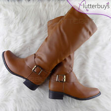 Womens Riding Tan Knee High Boots Low Heel soft Fleece Strap Buckle Ladies Size
