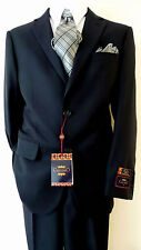 CARLO LUSSO Solid Dark Navy Blue Euro Slm 2 Buttons Men's Suit Flat Front Pants