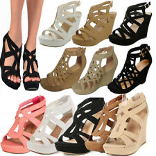 NEW WOMEN HIGH HEEL WEDGE GLADIATOR STRAPPY OPEN TOE PLATFORM SANDAL GIRL SHOE