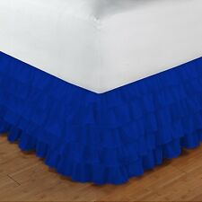 1 Qty Multi Ruffle Bed Skirt Drop 15 Inch Egyptian Cotton 1000TC E Blue Solid