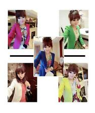 lady Womens Suit Foldable sleeve candy Color striped Blazer Jacket Coat 5colors