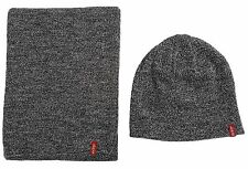MENS LEVIS RED TAB 2 PIECE BEANY HAT & SCARF SET - GREY SET