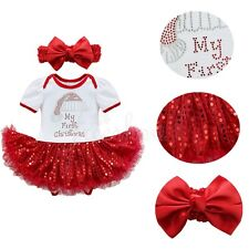 Infant Baby Girls 2pcs My First Christmas Sequins Romper Fancy Tutu Dress Outfit