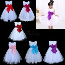 Flower Girl Dress Red Rose Bow Tie Belt Wedding Birthday Party Formal 2-8T Gift