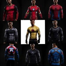 New 3D Superhero T-shirt Gym/Cycling/Running/Sports Tee Long Sleeve Men's DC Top
