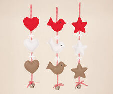 Beautiful Christmas Hanging Felt Decorations vintage Shabby Chic heart star bird