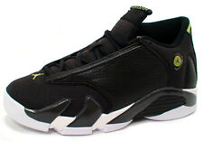 Nike AIR JORDAN 14 RETRO BG 487524-005 'BLACK/WHITE/VIVID GREEN' sz6Y-7Y