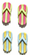 FUN SUMMER FLIP FLOPS STUD EARRINGS w/STRIPES ~ 2 COLORS ~ U PICK