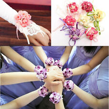 Bridesmaid Sisters Wrist Corsage Bracelet Hand Flowers Wedding Party Bridal Prom