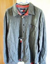 Tommy Jeans Hilfiger Men's Shirt Sz XL Blue Button Front Heavy Denim Look NWT