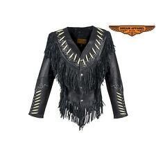 Womens Western Style Soft Genuine Black Leather Jacket With Bone And Bead