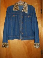 New Identity Blue Denim Jacket With Faux Animal Fur On Collar & Sleeves XL NWOT