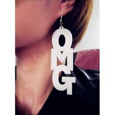Fashion Large OMG Letters Dangle Earring Hip-Hop Street Accessory-White/Black