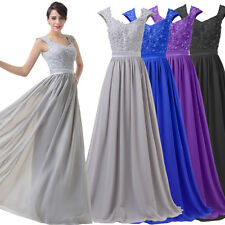 Stock Long Chiffon Bridesmaid Formal Gown Ball Party Cocktail Evening Prom Dress