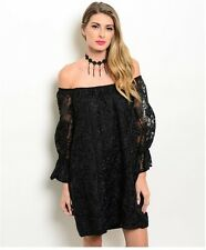 Voom by Joy Han Embroidered Black Bohemian Off The Shoulder Dress NWT XS, S