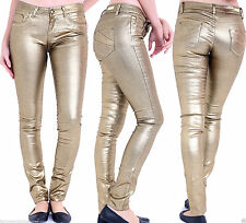 NEW WOMEN'S LADIES SUPER GOLD COATED MID RISE WET LOOK JEANS SKINNY FIT TROUSERS