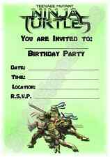 A5 KIDS CHILDRENS PARTY INVITATIONS X 12 - TEENAGE MUTANT NINJA TURTLES DESIGN 2