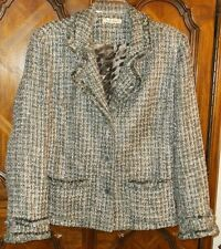 Travel Smith Sz 1X gray green textured lined button front jacket