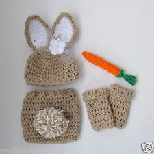 Bunny Hat & bow,diaper cover-Tan & White Newborn to 2 yrs-Pom Pom tail handmade
