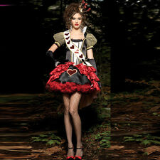 Ladies Queen of Hearts Costume Alice In Wonderland Sexy Fancy Dress Party Outfit