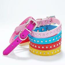 Adjustable Dog Pet PU Leather Collar Neck Strap Bling Rhinestone Crystal Pink