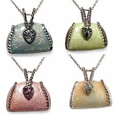 Purse Pendant Necklace Pave Rhinestone Enamel Silver Tone Handbag Fashion n009