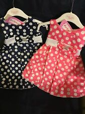 Baby Girls Dress Party Dress Satin Look Pink or Navy Blue Spots 0-23 Months