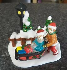 Christmas Porcelain Village Accessory KIDS ON SLEIGH SLED Snow Lantern Playing