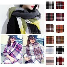 Warm Tassels Plaid Cashmere Scarf Check Wool Shawl Pashmina Wraps for Ladies
