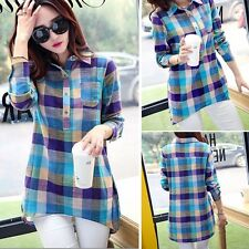 Fashion New Casual Women Long Sleeve Lapel Long Plaid Shirt Blouse