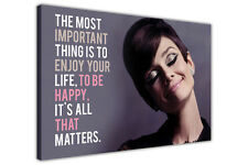 Smiling Audrey Hepburn Quote on Framed Canvas Wall Art Prints Celebrity Pictures