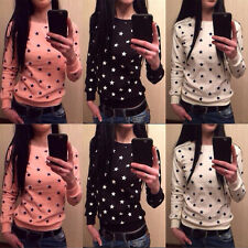Autumn Womens Crew Neck T-Shirt Five-pointed Star Print Long Sleeve Blouse Tops