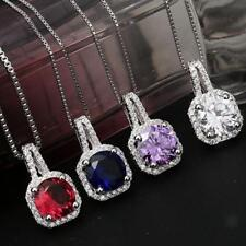 Fashion Large Faceted Crystal Zircon Gemstone Charm Pendant Necklace-4 Colors