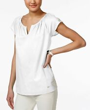NWT Tommy Hilfiger Women's Short Sleeve Crochet-Trim Top T-Shirt White L/XL