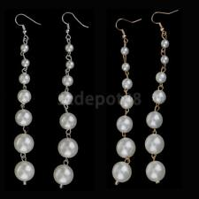 Exquisite Women Lady Earrings Gift Long Pearls Beaded Dangle for Wedding Party