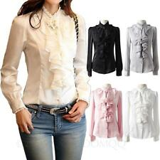 womens Career Long Sleeve Collar shirt Office satin blouse Ladies Silky Top Size