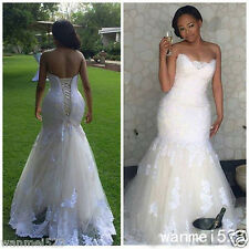 Elegant Mermaid Wedding Dress Plus Size Corset Back Sweetheart Bridal Gown 2017