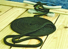 "NEW MARINE DOUBLE BRAIDED DOCK LINE BLACK 1/2""X20' BOAT"
