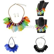Stylish Girls Feather Tassel Crystal Beads Tribal Necklace Earrings Sets
