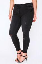 Plus Size Black Faded Denim Ankle Grazer Cropped Jeans With Rip Details 14-28