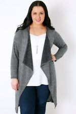 Plus Size Navy & Silver Metallic Longline Cardigan With Waterfall