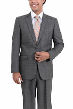Apollo King Classic Fit Charcoal Gray Glen Plaid Two Button Pleated Wool Suit