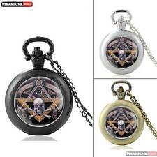 New Skull Quartz Pendant Retro DIY Pocket Watch Chain Necklace Vintage Steampunk