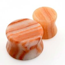 PAIR of Bacon Rocks Stone Ear Gauge Plug-Natural Flesh Tunnel-Earlets-Stretching